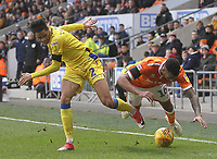 Blackpool's Curtis Tilt battles with Bristol Rovers' Daniel Leadbitter<br /> <br /> Photographer Mick Walker/CameraSport<br /> <br /> The EFL Sky Bet League One - Blackpool v Bristol Rovers - Saturday 3rd November 2018 - Bloomfield Road - Blackpool<br /> <br /> World Copyright © 2018 CameraSport. All rights reserved. 43 Linden Ave. Countesthorpe. Leicester. England. LE8 5PG - Tel: +44 (0) 116 277 4147 - admin@camerasport.com - www.camerasport.com
