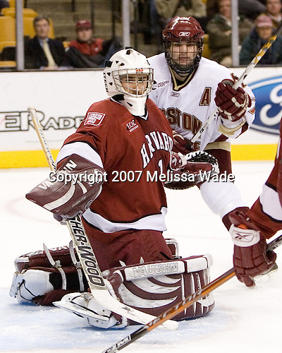 Kyle Richter (Harvard University - Calgary, AB), Joe Rooney (Boston College - Canton, MA) - The Boston College Eagles defeated the Harvard University Crimson 3-1 in the first round of the 2007 Beanpot Tournament on Monday, February 5, 2007, at the TD Banknorth Garden in Boston, Massachusetts.  The first Beanpot Tournament was played in December 1952 with the scheduling moved to the first two Mondays of February in its sixth year.  The tournament is played between Boston College, Boston University, Harvard University and Northeastern University with the first round matchups alternating each year.