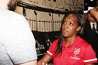 Arsenal Women's Danielle Carter speaks to the press during the Arsenal FC 2019-20 Adidas Home Kit Launch at the Armoury Shop, Emirates Stadium on 1st July 2019