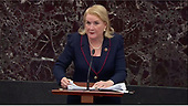 In this image from United States Senate television, US Representative Sylvia Garcia (Democrat of Texas), a Democratic floor manager, speaks in favor of an amendment to US Senate Resolution 483, during the impeachment trial of US President Donald J. Trump in the US Senate in the US Capitol in Washington, DC on Tuesday, January 21, 2020.<br /> Mandatory Credit: US Senate Television via CNP