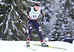 USA's Kikkan Randall competes during the FIS Ski World Cup 1.3 Km Sprint Free Qualification, on February 2, 2014 in Dobbiaco, Toblach. <br /> <br /> &copy; Pierre Teyssot