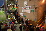 Crewe Alexandra 1 Leyton Orient 2, 18/01/2014. Gresty Road, League One. Home supporters making their way out of the stadium at the conclusion of Crewe Alexandra's home game against Leyton Orient (in yellow) in the SkyBet League One at the Alexandra Stadium, Gresty Road, Crewe. The match was won by the visitors from London by 2-1 with two goals on debut by Chris Dagnall, sending Orient to the top of the league. The match was watched by 4830 spectators. Photo by Colin McPherson.