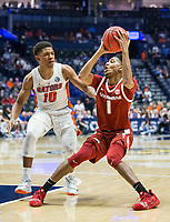 NWA Democrat-Gazette/BEN GOFF @NWABENGOFF<br /> Isaiah Joe (1), Arkansas guard, turns as Noah Locke,  Florida guard, defends in the second half Thursday, March 14, 2019, during the second round game in the SEC Tournament at Bridgestone Arena in Nashville.