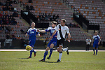 Edinburgh City 1 Cove Rangers 1, 30/04/2016. Commonwealth Stadium, Scottish League Pyramid Play Off. Home captain Dougie Gair battles for the ball before opening the scoring in the Scottish pyramid play-off second leg between Edinburgh City (in white) and Cove Rangers at the Commonwealth Stadium at Meadowbank in Edinburgh. The match between the champions of the Lowland and Highland Leagues determined which club would play-off against East Stirlingshire for a place in the Scottish league. The second leg ended 1-1, giving Edinburgh City a 4-1 aggregate win. Photo by Colin McPherson.