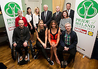02/04/2015<br /> (L to R back Row)Sister Helen Culhane LIDL Local Hero Award Winner, Pride of Ireland Awards 2014,<br /> Aoife Clarke Head of Communications LIDL Ireland, <br /> Jenny Buckley UTV Weather Presenter <br /> Prof paddy Broe Clinical Director &amp; Past President Royal College of Surgeons in Ireland,<br /> Assistant Garda Commissioner Derek Byrne, <br /> Joanne McGreevy Managing Director Mirror Media Ireland,<br /> Peter Willis Daily Mirror Editor (weekdays),<br /> (L to R) front row <br /> Mark Pollock Adventire Athlete &amp; Motivational Speaker, The 1st blind man to reach to the South Pole,<br /> Vogue Williams Model, DJ &amp; Presenter, <br /> Amanda Byram host of Pride of Ireland Awards, <br /> Louis Walsh Entertainment Manager &amp; X factor judge<br /> during the Pride of Ireland judging day in the Mansion House, Dublin.<br /> Photo:  Gareth Chaney Collins