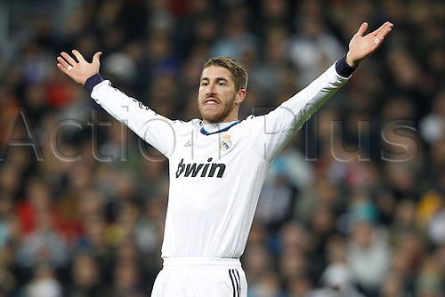 01.12.2012. Madrid, Spain, La Liga   match played between Real Madrid CF vs  Atletico de Madrid (2-0) at Santiago Bernabeu stadium. The picture shows  Sergio Ramos (Spanish defender of Real Madrid)