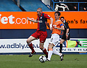 Richard Brodie of York City holsd off George Pilkington of Luton during the Blue Square Premier play-off semi-final 2nd leg  match between Luton Town and York City at Kenilworth Road, Luton on Monday 3rd May, 2010..© Kevin Coleman 2010 ..