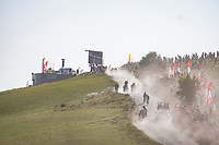 Wout van Aert (BEL/Jumbo - Visma) catches Marc Soler (ESP/Movistar) at the gravel section atop the Montée du plateau des Glières (HC/1390m)<br /> <br /> Stage 18 from Méribel to La Roche-sur-Foron (175km)<br /> <br /> 107th Tour de France 2020 (2.UWT)<br /> (the 'postponed edition' held in september)<br /> <br /> ©kramon