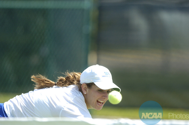15 MAY 2008: Katie Tabb of Washington & Lee University keeps her eye on the ball in her singles match against Cary Gibson of Williams College during the Division III Women?s Tennis Championship held at the Brown Outdoor Tennis Complex on the Gustavus Adolphus College campus in St. Peter, MN.  Williams College defeated Washington and Lee for the national title.  Vince Muzik/NCAA Photos...
