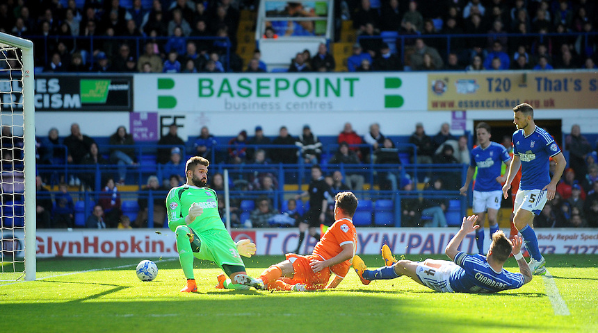 GOAL - Blackpool's Henry Cameron scores his sides second goal <br /> <br /> Photographer Kevin Barnes/CameraSport<br /> <br /> Football - The Football League Sky Bet Championship - Ipswich Town v  Blackpool - Saturday 11th April 2015 - Portman Road - Ipswich<br /> <br /> &copy; CameraSport - 43 Linden Ave. Countesthorpe. Leicester. England. LE8 5PG - Tel: +44 (0) 116 277 4147 - admin@camerasport.com - www.camerasport.com