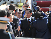 Chinese President Hu Jintao arrives for the Nuclear Security Summit, at Andrews Air Force Base, Maryland, April 12, 2010.  .Credit: Kevin Dietsch / Pool via CNP