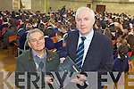 ADDRESS: Principal of Scoil Phobail Sliabh Luachra, Denis Kerins (right) greets Holocaust survivor, Tomi Reichental who spoke to 300 students on Thursday from across Kerry about his experiences in the Bergen Belsen concentration camp..