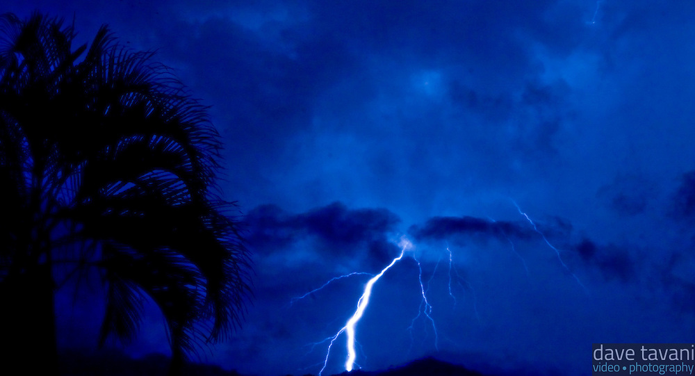 Lightning strikes in Playas Conchas Chinas, Mexico.