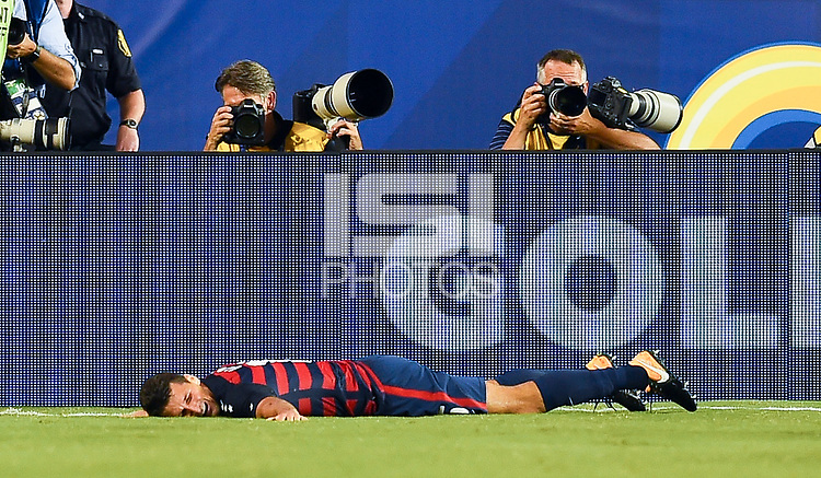 Philadelphia, PA - Wednesday July 19, 2017: Eric Lichaj celebrates his goal during a 2017 Gold Cup match between the men's national teams of the United States (USA) and El Salvador (SLV) at Lincoln Financial Field.
