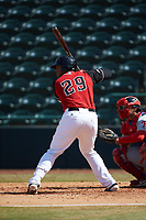 Curtis Terry (29) of the Hickory Crawdads at bat against the Lakewood BlueClaws at L.P. Frans Stadium on April 28, 2019 in Hickory, North Carolina. The Crawdads defeated the BlueClaws 10-3. (Brian Westerholt/Four Seam Images)