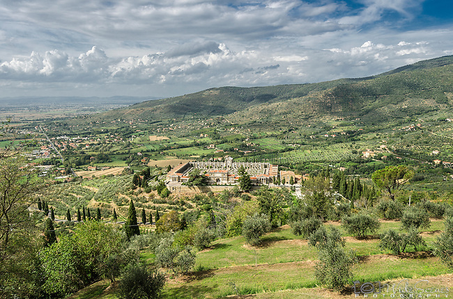 View of cemetery from Cortona in the Tuscany region of Italy