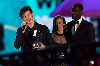 Shawn Mendes accepts an award from Natalie Dormer during the show of the 2017 MTV Europe Music Awards, EMAs, at SSE Arena, Wembley, in London, Great Britain, on 12 November 2017. Photo: Hubert Boesl <br />