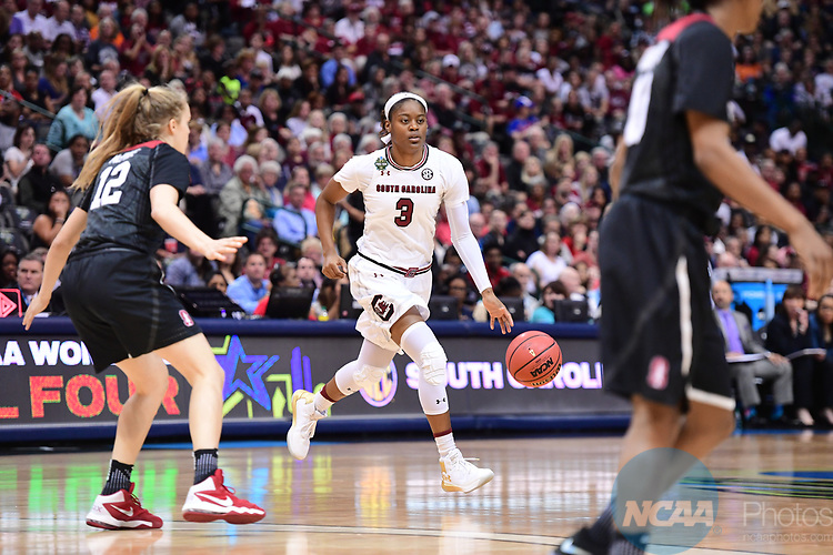 DALLAS, TX - MARCH 31: Kaela Davis #3 of the South Carolina Gamecockstake on the Stanford Cardinal at American<br /> Airlines Center during the 2017 Women's Final Four in<br /> Dallas, TX.<br /> (Photo by Justin Tafoya/NCAA Photos)