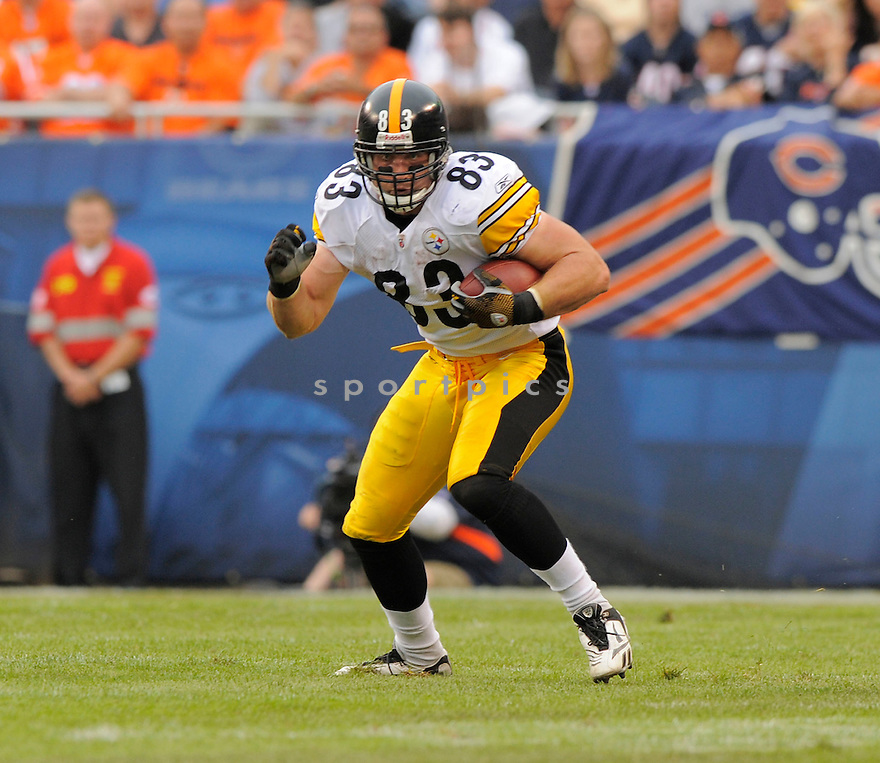 HEATH MILLER,of the Pittsburgh Steelers , in action during the Steelers  game against the Chicago Bears on September 20, 2009 in Chicago, IL.  The Bears beat the Steelers 14-7.
