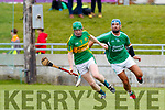 Liam Boyle Ballyduff in action against Conor O'Keeffe Lixnaw in the Senior County Hurling Final in Austin Stack Park on Sunday