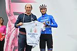 On yesterday's stage Maglia Azzurra Giulio Ciccone (ITA) Trek-Segafredo was first to pass the special line (26km before the finish) dedicated to Milano Cortina's bid to host the 2026 Winter Olympics. Today he received a special jersey featuring the Milano Cortina 2026 logo presented to him by Giro d'Italia Director Race Director Stefano Allocchio at sign on before Stage 17 of the 2019 Giro d'Italia, running 181km from Commezzadura (Val di Sole) to Anterselva / Antholz, Italy. 29th May 2019<br /> Picture: Gian Mattia D'Alberto/LaPresse | Cyclefile<br /> <br /> All photos usage must carry mandatory copyright credit (© Cyclefile | Gian Mattia D'Alberto/LaPresse)