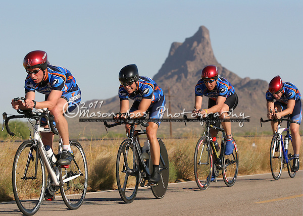 Riders pass Picacho Peak during the Team Time Trial competition of Saguaro Velo's Picacho Peak Time Trial series. Located north of Tucson along I-10, the USCF certified course is flat, and fast!