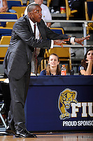 6 February 2010:  FIU Basketball Head Coach Isiah Thomas directs his players in the first half as the North Texas Mean Green defeated the FIU Golden Panthers, 68-66, at the U.S. Century Bank Arena in Miami, Florida.