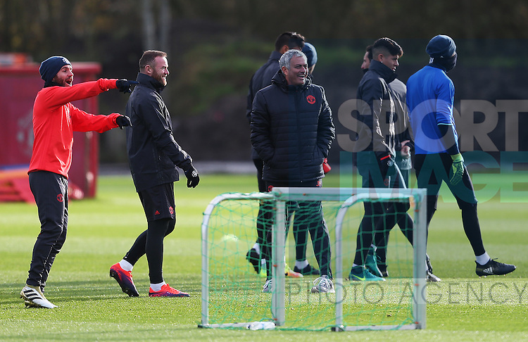 Manchester United manager Jose Mourinho laughs during the UEFA Europa League training session at the AON Training Complex, Manchester. Picture date: November 23rd 2016. Pic Matt McNulty/Sportimage