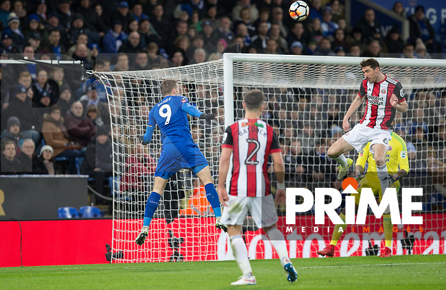 Jamie Vardy of Leicester City scores a goal to make it 1 0 nduring the FA Cup 5th round match between Leicester City and Sheff United at the King Power Stadium, Leicester, England on 16 February 2018. Photo by Andy Rowland.