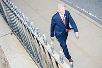 Republican presidential candidate and former Massachusetts governor Bill Weld leaves after greeting people outside the Holy Name Parish Hall polling place as people arrive to vote in the Massachusetts presidential primary on Super Tuesday in West Roxbury, Massachusetts, on Tue., March 3, 2020. Weld is the lone Republican challenger to incumbent US President Donald Trump, and has fared poorly in early primaries, winning only a single delegate in Iowa. As Weld arrived, a group of ardent Trump supporters heckled him.