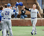 SIOUX FALLS, SD: Josh Falk #19 from South Dakota State University celebrates a home run against North Dakota State University Thursday in Sioux Falls. (Dave Eggen/Inertia)