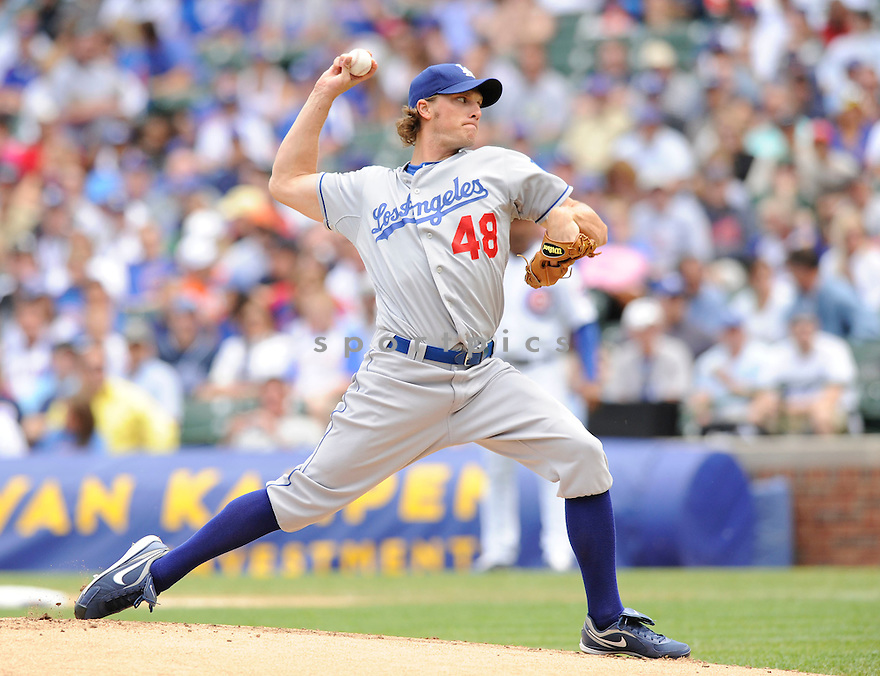JOHN ELY, of the Los Angeles Dodgers ,in action during the Dodgers game against the Chicago Cubs at Wrigley Field in Chicago, IL on May 27, 2010.  ..The Cubs won the game 1-0...