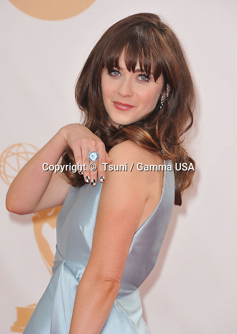 Zooey Deschanel arriving at the 65th Primetime Emmy Awards at the Nokia Theatre in Los Angeles.