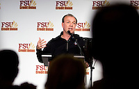TALLAHASSEE, FLA. 2/6/13-FSUSIGNDAY020613 CH-Head Coach Jimbo Fisher talks about football recruits who have committed to attend Florida State University during the Seminole's national signing day War Party, Feb. 6, 2013 in Tallahassee..COLIN HACKLEY PHOTO