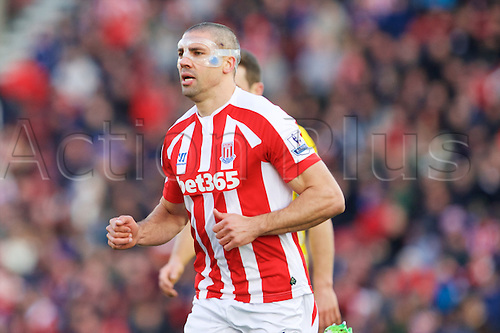 21.03.2015.  Stoke, England. Barclays Premier League. Stoke City versus Crystal Palace. Stoke City forward Jonathan Walters playing in a facemask.