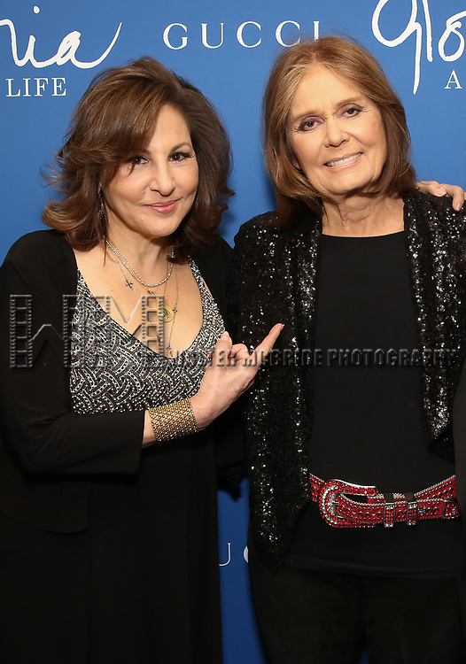 """Kathy Najimy and Gloria Steinem attends the Opening Night Performance of """"Gloria: A Life"""" on October 18, 2018 at the Daryl Roth Theatre in New York City."""