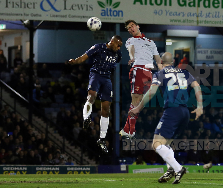 Sheffield United's Harrison McGahey fires in a header during the League One match at Roots Hall Stadium.  Photo credit should read: David Klein/Sportimage