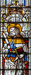 Sixteenth century stained glass windows inside church of Saint Mary, Fairford, Gloucestershire, England, UK - window 11 Saint Bartholomew