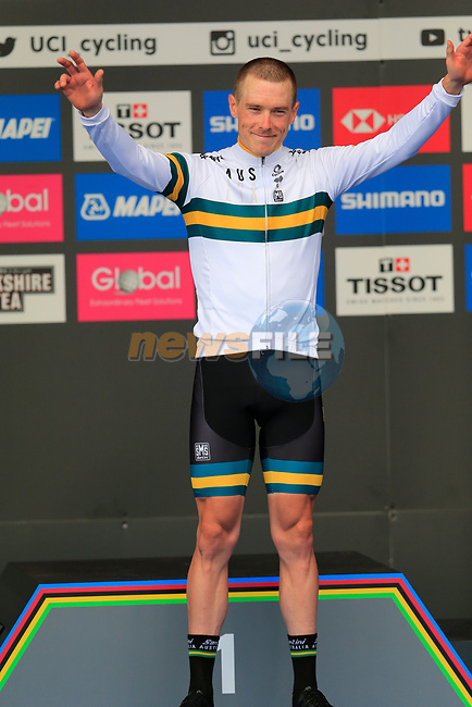 Rohan Dennis (AUS) wins gold medal at the Men Elite Individual Time Trial of the UCI World Championships 2019 running 54km from Northallerton to Harrogate, England. 25th September 2019.<br /> Picture: Eoin Clarke | Cyclefile<br /> <br /> All photos usage must carry mandatory copyright credit (© Cyclefile | Eoin Clarke)