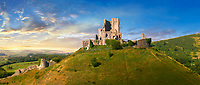 Panorama of Medieval Corfe castle keep  close up  sunrise, built in 1086 by William the Conqueror, Dorset England