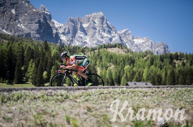 Lorenzo Rota (ITA/Bardiani-CSF) crossing the Passo Monte Croce Comelico / Kreuzbergpass (1636m)<br /> <br /> Stage 19: San Candido/Innichen › Piancavallo (191km)<br /> 100th Giro d'Italia 2017