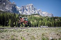 Lorenzo Rota (ITA/Bardiani-CSF) crossing the Passo Monte Croce Comelico / Kreuzbergpass (1636m)<br /> <br /> Stage 19: San Candido/Innichen &rsaquo; Piancavallo (191km)<br /> 100th Giro d'Italia 2017