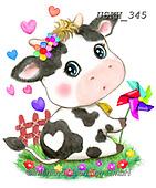 Kayomi, CUTE ANIMALS, LUSTIGE TIERE, ANIMALITOS DIVERTIDOS, paintings+++++,USKH345,#ac#, EVERYDAY ,sticker,stickers ,cow,cows