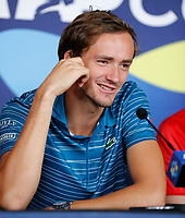 2nd January 2020; RAC Arena , Perth, Western Australia, Australia; ATP Cup Team Press conferences, Spain; Daniel Medvedev of Russia speaks to the press  at the team press conferences - Editorial Use