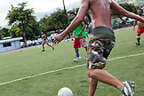 FRENCH POLYNESIA, Tahiti, Papeete. A soccer game between locals at the Willy Bambridge Stadium.