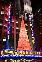 Radio City Music Hall Illuminated for the Christmas Season, Rockefeller Center, Midtown Manhattan, New York City, New York State, USA