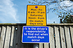 Lowestoft Town 2 Barrow 3, 25/04/2015. Crown Meadow, Conference North. Barrow make the six-hour trip to Suffolk needing a win to secure the title. Matchday parking restrictions around Crown Meadow. Photo by Simon Gill.