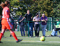 20190921 – LEUVEN, BELGIUM : National Women's U17's goal keeper trainer Frank Verwimp, Head Coach Tamara Cassimon and Voetbal Vlaanderen's Benny Mazur are pictured during a women soccer game between  Oud Heverlee Leuven Ladies B and Eendracht Aalst Ladies on the fourth matchday of the Belgian Division 1 season 2019-2020, the Belgian women's football  national division 1, Saturday 21th September 2019 at the Bruinveld Youth Complex, Domeinstraat in Leuven , Belgium. PHOTO SPORTPIX.BE | SEVIL OKTEM