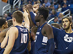 The Utah State team before the start of their NCAA college basketball game against Nevada in Reno, Nev., Wednesday, Jan. 2, 2019. (AP Photo/Tom R. Smedes)