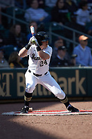 Chris Lanzilli (24) of the Wake Forest Demon Deacons waits for his turn to bat during the game against the Furman Paladins at BB&T BallPark on March 2, 2019 in Charlotte, North Carolina. The Demon Deacons defeated the Paladins 13-7. (Brian Westerholt/Four Seam Images)